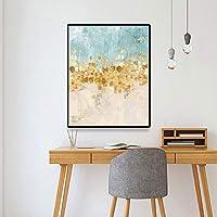 キャンバスペインティング 北欧の植物ゴールデンリーフキャンバス絵画植物のポスターとリビングルームのモダンな装飾のための抽象的な壁アートの写真を印刷 50x75cm