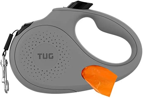 TUG Oval 360° Tangle-Free Retractable Dog Lead with Integrated Waste Bag Dispenser (Large, Grey)