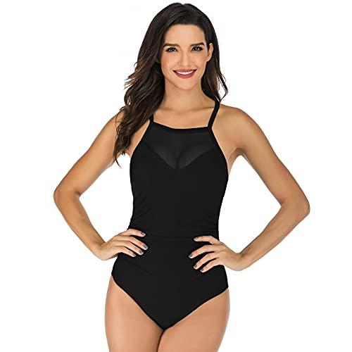 Bikini de Mujer Sexy Lace Halter Malla sólida One Piece Beachwear Traje de baño (Color : C, Size : M)