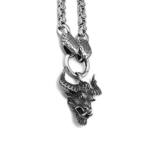 Collar de cabeza de serpiente de la serpiente del norte de acero inoxidable, joyería colgante de ganado de estilo punk