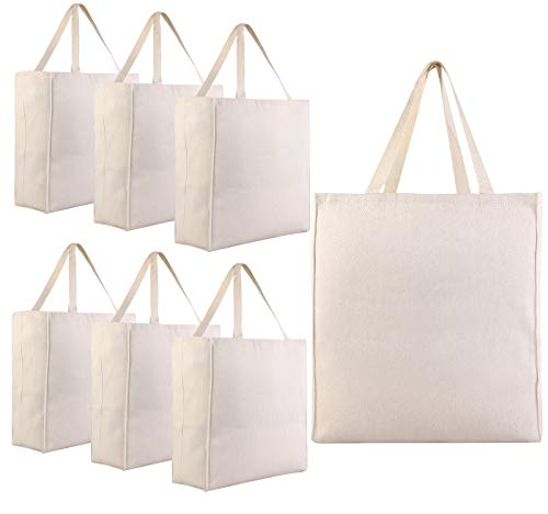 Pack of 6 - Heavy Cotton Twill Over-the-Shoulder Grocery Tote Bags - 15.5'h x 14.5'w x 7'd - Cotton Canvas Reusable Grocery Shopper Weekender Blank Wholesale Cheap Craft Tote Bags