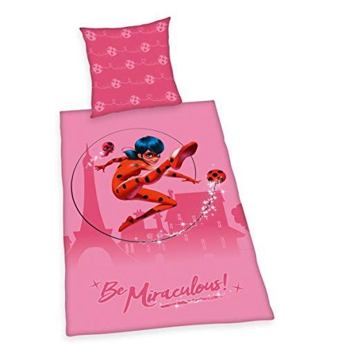 Herding Miraculous - Juego de Cama (algodón, 80 x 80 cm, 135 x 200 cm), Color Rosa