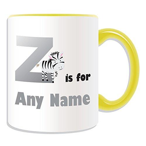 Regalo personalizado – Letra Z para taza (temática del alfabeto, opciones de color) – todos los mensajes/nombre a su único – A B C D E F G H I J K L M N O P Q R S T U V W X Y Z Inicial dulce símbolo de Zulu Zebra