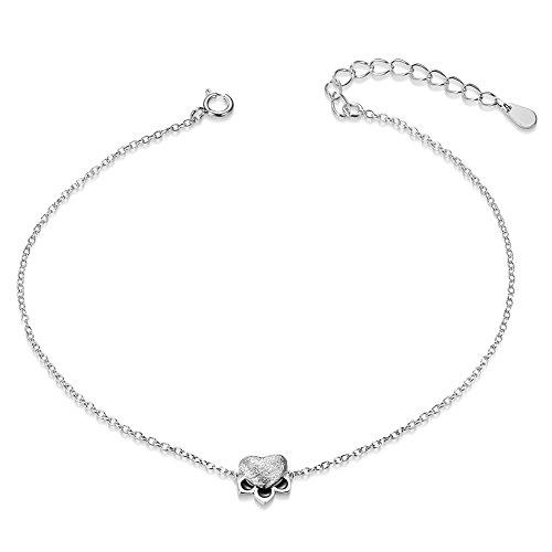 Sweetiee - Bracelet de Cheville Femme en Pur Argent 925 Sterling, Chaine de Cheville Simple avec...