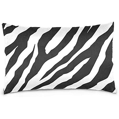 Funda de almohada de poliéster con rayas de cebra blanca y negra, cubierta con funda de almohada con cremallera Tamaño de impresión de dos lados 20x30 pulgadas, para sala de estar de dormitorio