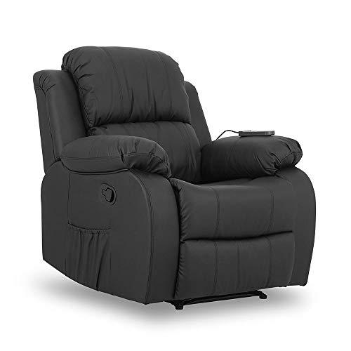 Don Descanso - Sillón Masaje Relax Calor Trevi Negro Reclinable 160º con 8 Motores Silenciosos, Calor Lumbar, Sist. Masaje 4 Zonas y Acabado en PU Anti-Cuarteo [Incluye Mando]. Ideal Gente Mayor