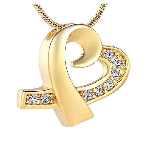 Wxcvz Collar para Cenizas Collar De Urna De Cremación con Cinta De Corazón De Diamantes De Oro para Mujer para Las Cenizas De Un Ser Querido, Joyería para Cenizas