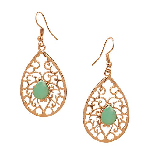 NEW! Touchstone Indian Bollywood Beautifully Hand Peeled Metal Mesh Work Faux Emerald Ravishing Pear Shape Modern Designer Jewelry Light Weight Earrings In Gold Tone For Women.