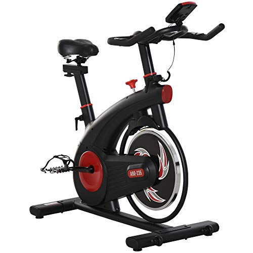 HOMCOM Fahrradtrainer Indoor Heimtrainer mit 8KG Schwungrad Home Gym Cycling Bike Trainer Fitnessfahrrad Stufenlos Widerstand Stahl 107 x 52 x 104-119 cm