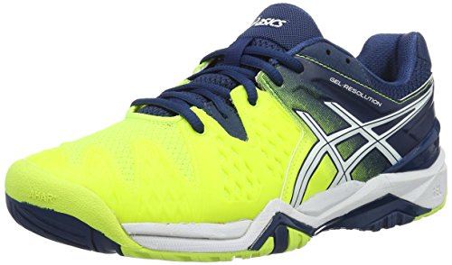 ASICS Gel-Resolution 6, Scarpe da Ginnastica Uomo, Giallo (Safety Yellow/White/Poseidon), 42 EU