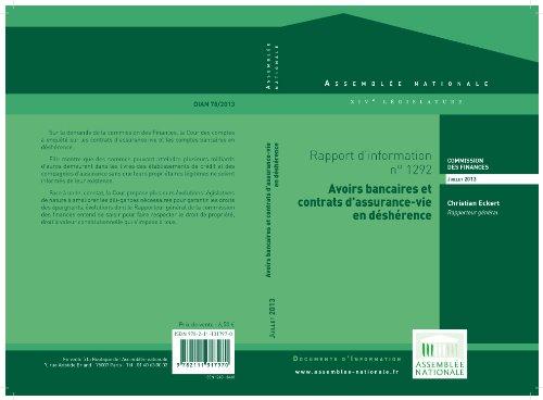 Rapport d'information relatif aux avoirs bancaires et aux contrats d'assurance-vie en déshérence