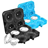 Homienly Ice Cube Trays, Reusable Ice Diamond Form with Lids, Easy Release Diamond Silicone Ice Sphere Tray & Funnel for Whiskey, Cocktails, Bourbon, Stackable & BPA Free(2pc/Pack)