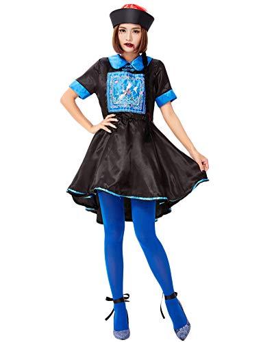 Disfraz De Halloween para Mujer Cosplay Trajes De Zombie Chino Azul Negro M