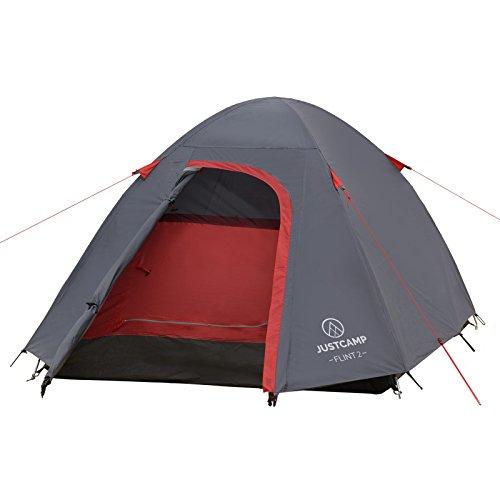 JUSTCAMP Campingzelt Flint 2, Leichtes 2 Personen Kuppelzelt, Kompakt, 3,12 kg, Igluzelt - grau