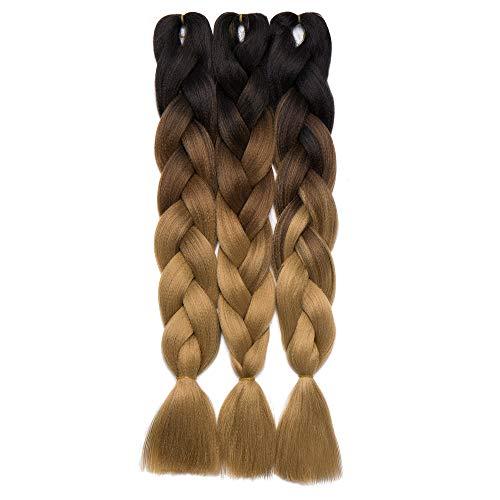 "S-noilite 24"" Jumbo Braiding Hair Extension Dip Dye Ombre Twist..."