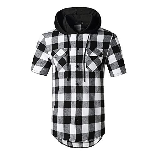 Freizeitshirt Herren Kariert Sommer Atmungsaktiv Schnürung Herren Hoodie Mode Taschen Knopfleiste Kurzarm Shirt Asymmetrisches Sandstrand Herren T-Shirt C-Grey 1 XL