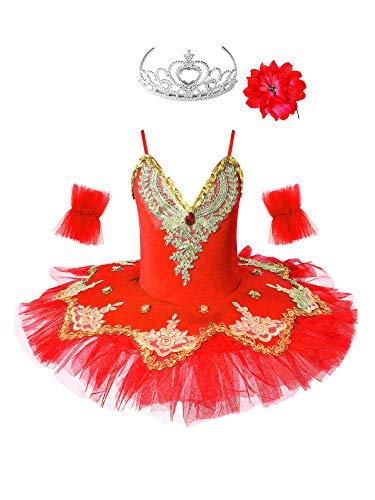 IEFIEL Vestido Maillot de Ballet Danza para Niña Chica (4-12 Años) Tutú Flores Princesa Maillot Gimnasia Lentejuelas Brillantes + Guantes + Clip (9-10 años, Rojo)