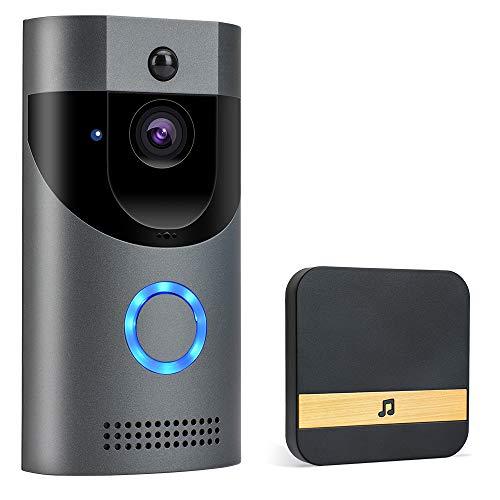 POWERGIANT Sonnette Vidéo sans Fil - Visiophone Caméra IP65 Étanche avec Conversation Bidirectionnelle Vision Nocturne et Détecteur de Mouvements PIR App pour iOS, Android