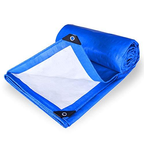 FJDEYB Wendbare blau/weiße Polyplane 160 g/m² Leichte wasserdichte Plane mit Ösen, UV-, Fäulnis- und Reissschutz for Camping, Angeln und Außenbereiche (Size :...