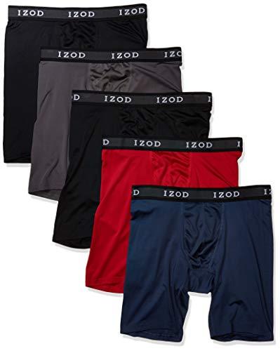 IZOD Men's 5 Pack Performance Cycle Boxer Brief, Black/Magnet/Dress Blues/Chili Pepper/Black, L