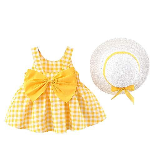 Hirolan Bekleidung 3 Stück Kleinkind Baby T-Shirt+Shorts Kurze Hosen +Sonnenhut Kind Mädchen Outfits Kleider Blumen Weste Sommerkleidung Chiffon Strampler Spielanzug (100, Gelb11)