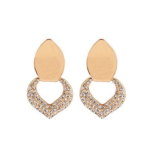 Aeici Oro Pendientes de Moda Mujer Diseño Unico Corazón Circón 47X27Mm