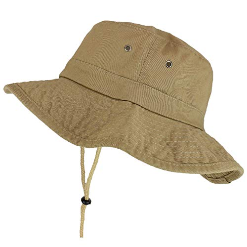 Trendy Apparel Shop XXL Oversize Large Brim 100% Cotton Outdoor Boonie Hat - Khaki - 3XL