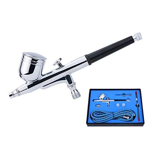 Hochwertig Airbrush Set Double Action Airbrush Pistole Kit mit 0,2mm 0,3mm 0,5mm Düsen und Nadeln,für Nägel Tattoos Nailart Kuchen Makeup Modellbau und anderes Handwerk