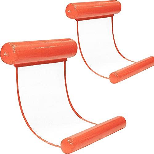 Wasserhängematte Luftmatratze aufblasbare Schwimmende Wasser Bett Strandmatte Floating Lounge Stuhl (Orange*2)