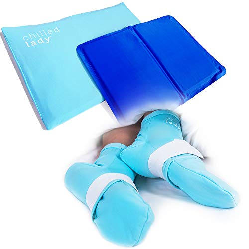 Hot Flashes Cooling Items Bundle - 1 x Reusable Cooling Pad Pillow Insert and 1 x Gel Ice Pack Socks – for Hot Sleepers and Chemo, Postpartum, Diabetic and Menopause Cooling Night-time Relief in Bed