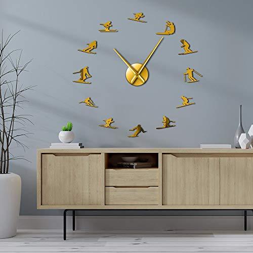 Deportes de invierno al aire libre DIY gran pared arte esquí sala decoración sin marco relojes de pared montaña esquiador colgante relojes (oro、47 pulgadas)