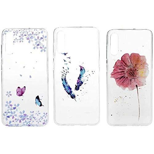 Funda para Huawei Y6p, a prueba de golpes, transparente, suave, TPU, con cojín de aire, funda protectora de diseño floral, antiarañazos, delgada, para Huawei Y6p, Plumas mariposa flor, Huawei Y6p
