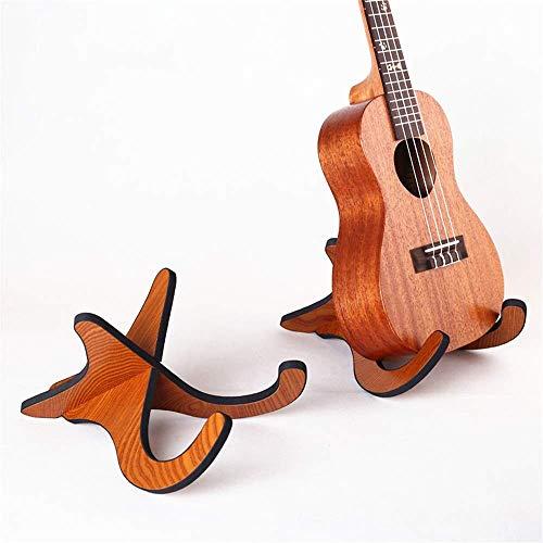 TEHWDE Ukulele plank viool hout natuurlijke hout kleur standaard beugel houder kleine gitaar vouwen verticale beugel (kleur: bruin)