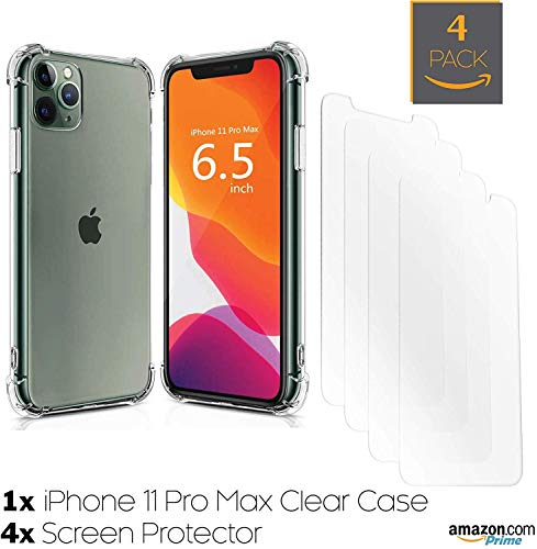 iPhone 11 Pro Max Clear Plastic Film Screen Protector (NOT Glass) and Free iPhone 11 Pro Max Clear Case | New 2019 iPhone 11 Pro Max Case-Friendly, Scratch Resistant, Haptic Touch Accurate [4-Pack]