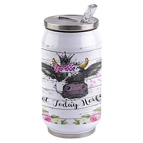15oz Stainless Steel Liner Vacuum Tumbler Cute Cow Thermal Insulation Vacuum Cup with Straw & Slider Lid Vintage Wood Portable Cola Can for Travel, Sports, Camping