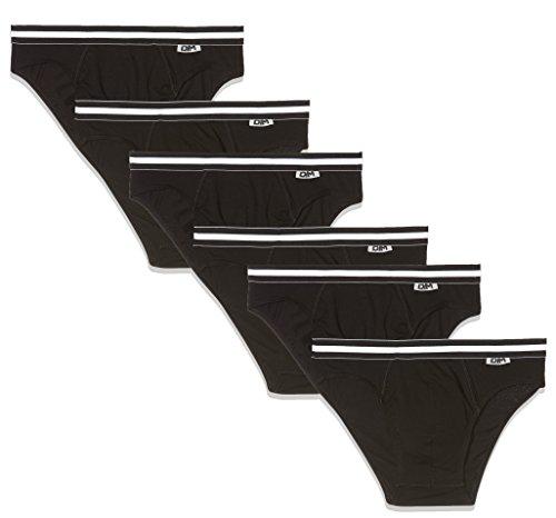 Dim Ecodim X6 Eco-Juego de 6 Calzoncillos Slip, Noir (Noir/Noir/Noir/Noir + Noir/Noir 0hz), M (Pack de 6) para Hombre