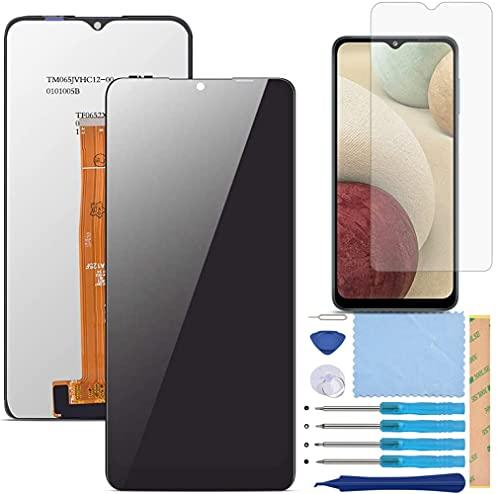QHM Trade Pantalla LCD Táctil Asamblea Repuesto Compatible con Samsung Galaxy A12 2020 Negro con Herramientas + Película Templada