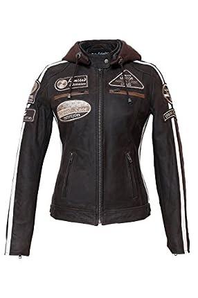Chaqueta Moto Mujer de Cuero Urban Leather UR-172 '58 LADIES'   Chaqueta Cuero Mujer   Cazadora Moto de Piel de Cordero   Armadura Removible para Espalda, Hombros y Codos Aprobada por la CE  Marrón   2XL