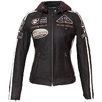 Chaqueta Moto Mujer de Cuero Urban Leather '58 LADIES' | Chaqueta Cuero Mujer | Cazadora Moto de Piel de Cordero | Armadura Removible para Espalda, Hombros y Codos Aprobada por la CE |Marrón | XL