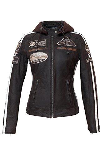 Chaqueta Moto Mujer de Cuero Urban Leather 58 Leren Bikerjack LADIES, Chaqueta Cuero Mujer, Cazadora Moto de Piel de Cordero, Armadura Removible para Espalda, Hombros y Codos Aprobada por la CE |Marrón | M