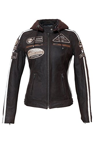 Damen Motorradjacke mit Protektoren, Braun, Große : L