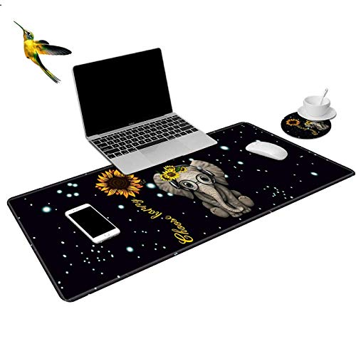 ROSSY Extended Gaming Mouse Pad Desk Mat Keyboard Pad,Sunflowers Elephant with Choose Happy Design Large XXL Mousepad (31.5x11.8inch) for Work Gaming Office Home + Coffe Cup Coaster and Stickers