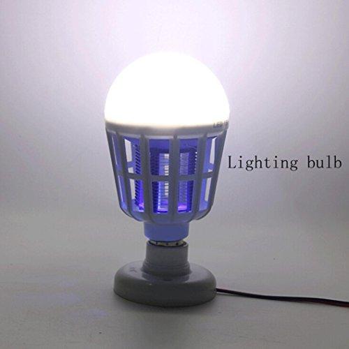 Moonuy Nouvelle Ampoule anti-moustique LED 15W électronique Insecte Fly Lure Kill Ampoule tueur Double usage électrique Balle Moustique Lampe Longue Durée vie Haute Efficacité Lumineuse (Blanc)