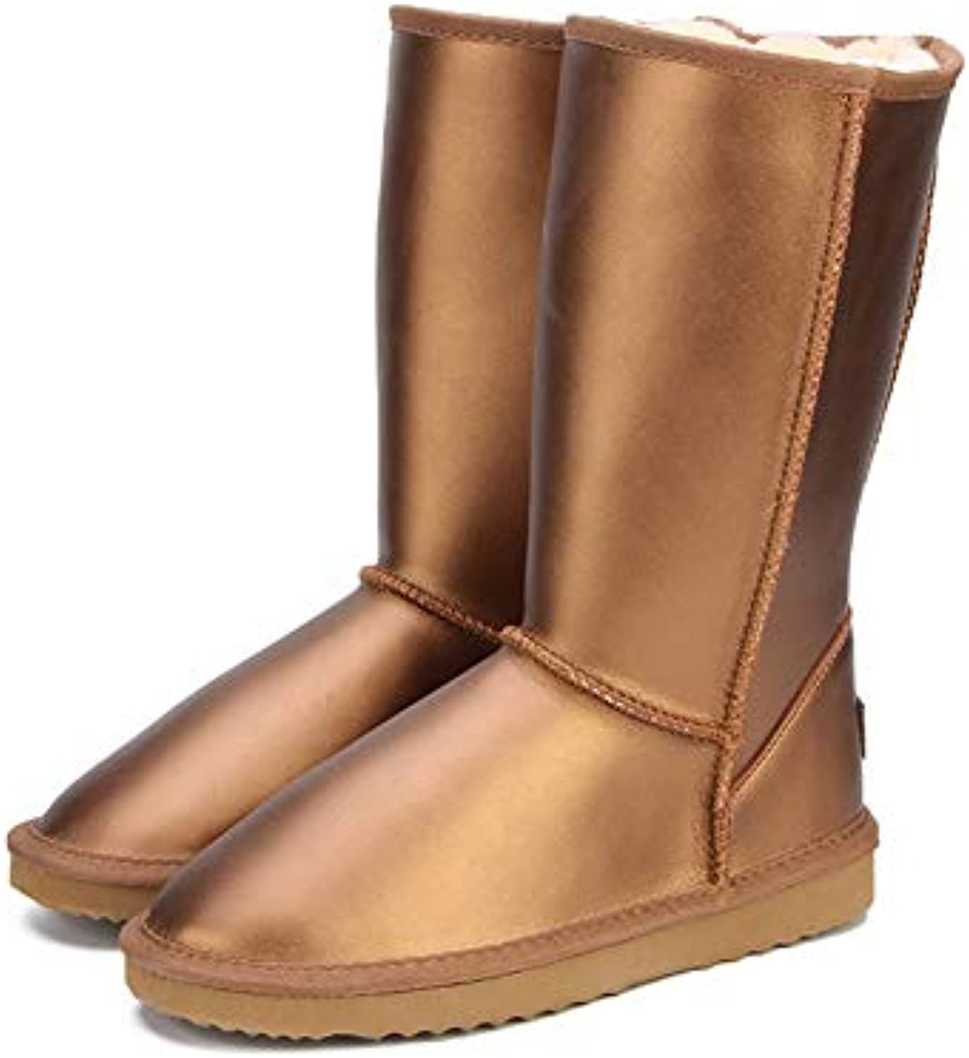 T-JULY Women Winter Genuine Cowhide Leather Waterproof Fashion color Casual Snow Boots