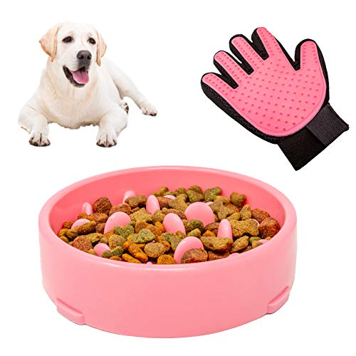 BluBell 2 in 1 Slow Feeder Dog Bowl & FREE Pet Grooming Glove – Slow feeding for Pet, Puppy & Dogs. Fun Interactive Puzzle Maze. For Diet, Reduces Bloating, Slows Down Foraging, Anti Gulp (Pink)