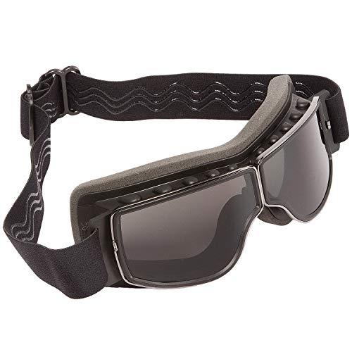 PiWear® Nevada Motorradbrille über Helm für Brillenträger geeignet Retro Klassik Oldtimer Schutzbrille schwarz dunkel getönt