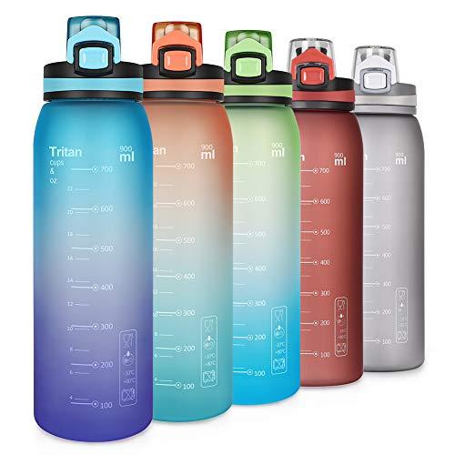 Opard Trinkflasche Sport 900ml -Wasserflasche aus Tritan BPA-Frei, Auslaufsicher Sportflasche für Kinder, Fitness, Fahrrad, Fußball, Outdoor(BL)