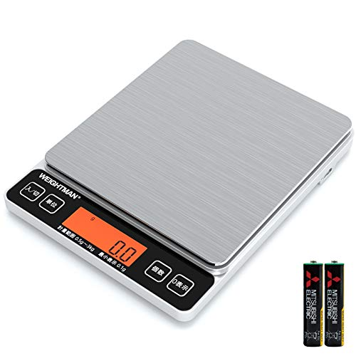 Weightman キッチンスケール はかり 0.1g単位 3kg 日本語説明書付き 風袋引き機能 高精度センサー オートパワーオフ 計数機能 乾電池/USB二式給電 単4形乾電池付属