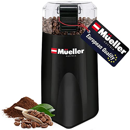 Mueller Austria HyperGrind Precision Electric Spice/Coffee Grinder Mill with Large Grinding Capacity and HD Motor additionally for Spices, Herbs, Nuts, Grains, Black (Renewed)