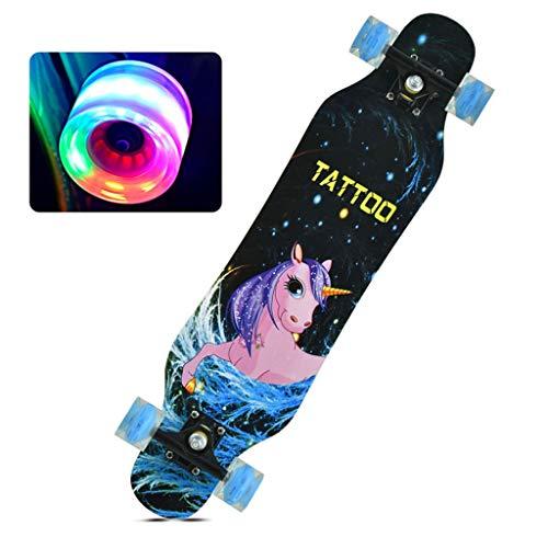 SHATONG Jugendliche Kinder Skateboard mit Leucht-Wheels Adult Longboard Doppel verzogen Holz Surfbrett Anfänger Vierrädrige Professional Standard-Tanz-Brett Studenten Brush Street Deck (Color : C)